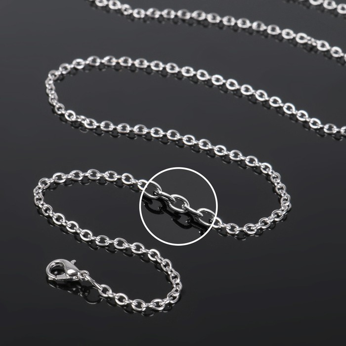 Цепочка с карабином СМ-1935, (набор 5шт) L=80 см, 0,2 см, цвет серебро
