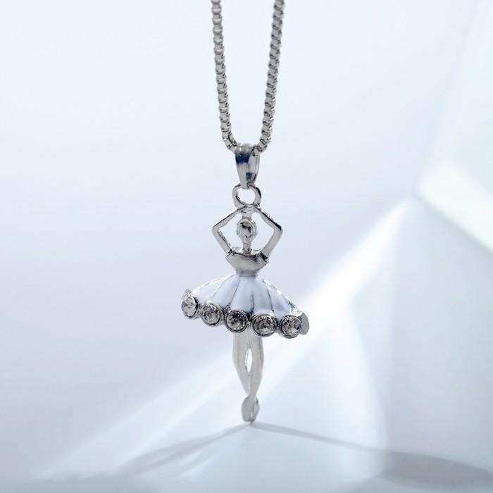 """Кулон """"Балерина"""" в юбке, цвет белый в серебре, 45 см - фото 2125928"""