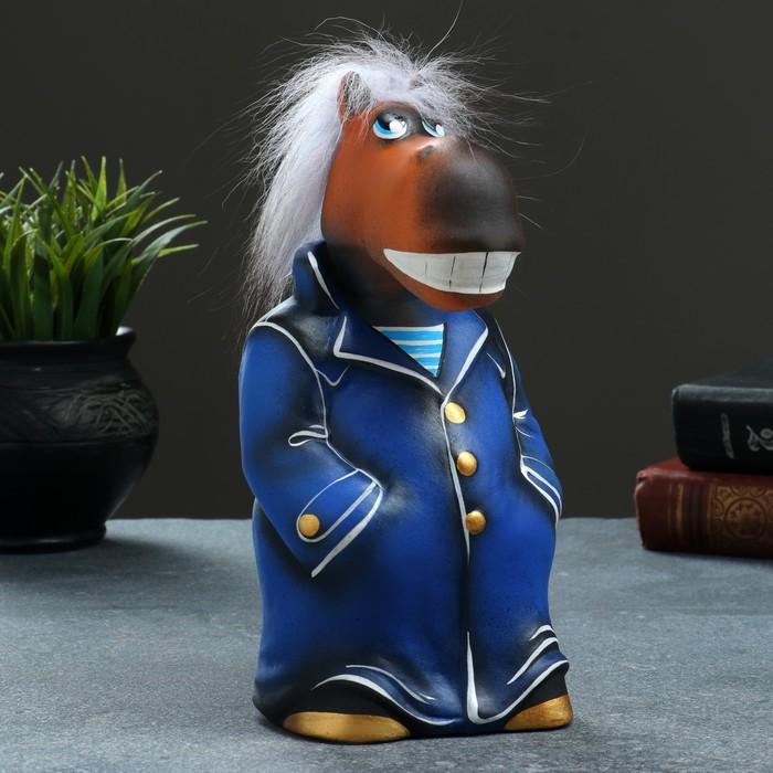 """Копилка """"Конь в пальто"""" 10х11х22см, синий"""