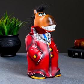 """Копилка """"Конь в пальто"""" 22см, бордо"""
