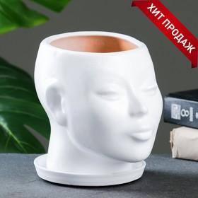 Фигурное кашпо 'Голова' 15 см белый Ош