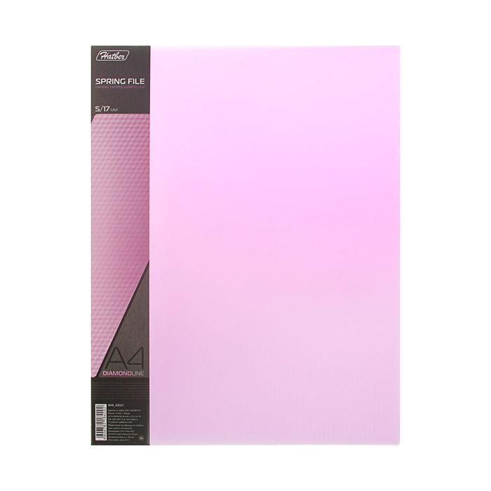 Папка с боковым пружинным скоросшивателем А4 DIAMOND, 700мкм, торцевой карман с бумажной вставкой, полупрозрачная фиолетовая