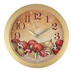 """Часы настенные круглые """"Красные шары"""", золотистый обод, 28х28 см"""