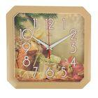 """Часы настенные квадратные """"Новогодние подарки"""", золотистый обод, 28х28 см"""