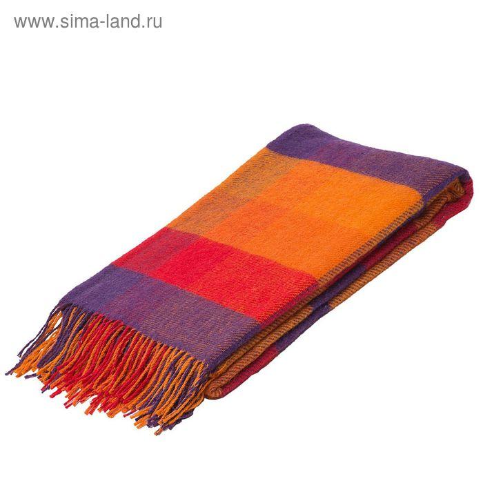 Плед Амстердам 100% овечья шерсть 280 г/кв.м. 140*200 см, цв.01 крас-оранж-черн