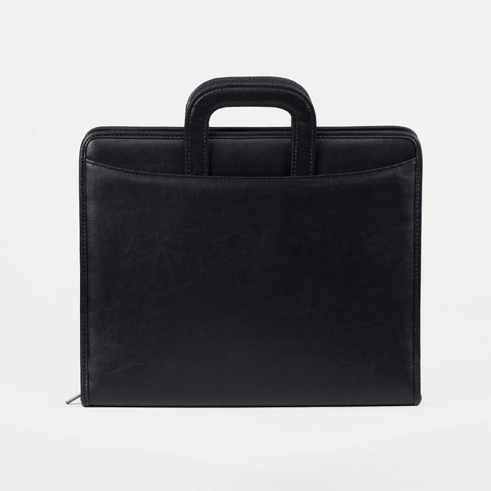 Папка деловая на молнии, выдвижная ручка, цвет чёрный - фото 1672351