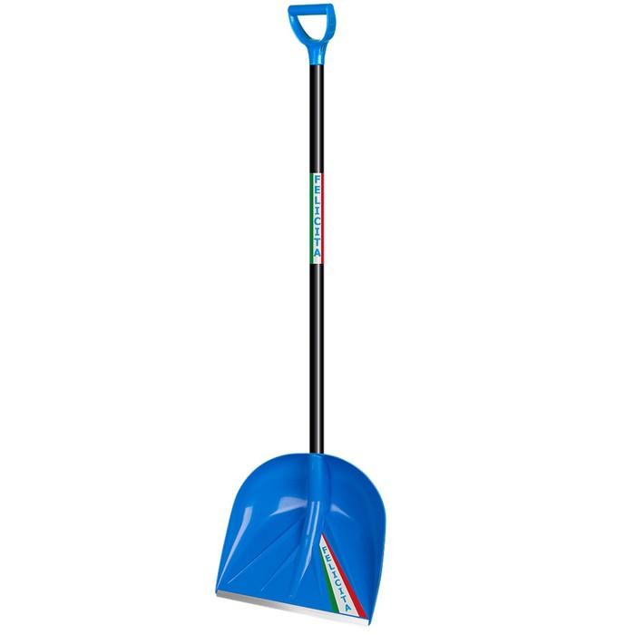 Лопата пластиковая, ковш 410 × 390 мм, с металлической планкой, деревянный черенок, с ручкой