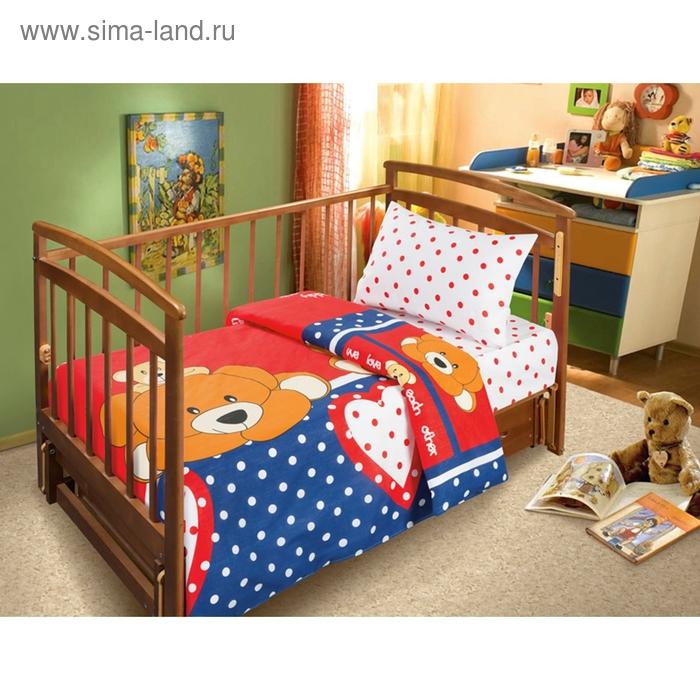 Детское постельное бельё АДЕЛЬ «Тедди», размер 110х140 см, простыня на резинке 120х60 см, 40х60-1 шт., поплин 125 г/м²
