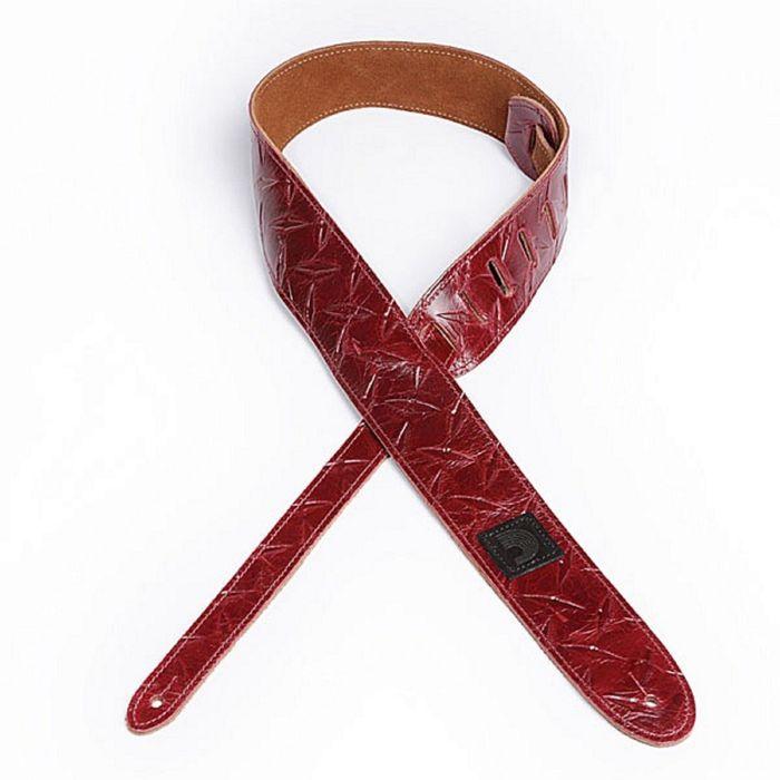 Ремень для гитары Planet Waves 20LDP02 Diamond Plate, кожаный, красный, тиснение