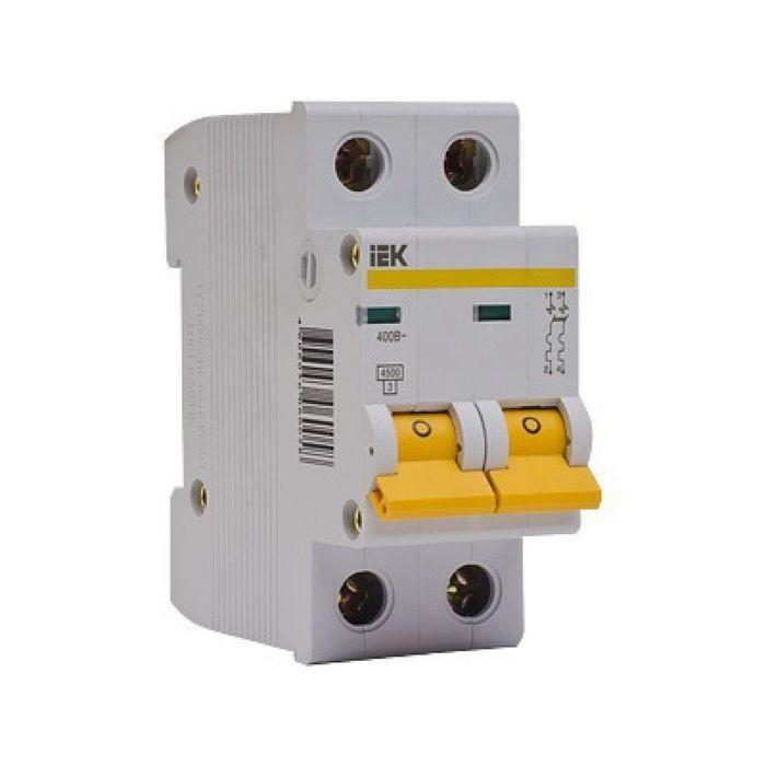 Выключатель автоматический IEK, 2п, C 6 А, ВА 47-29, 4.5 кА, MVA20-2-006-C