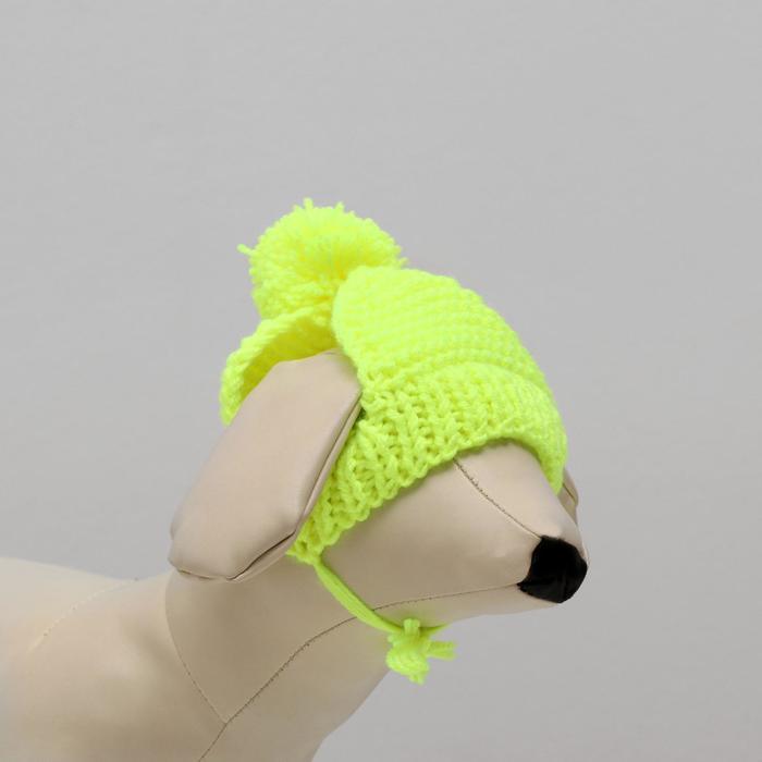 Вязанная шапочка с пампоном, XS-S, обхват головы 22 см, высота шапки 7,5 см, МИКС