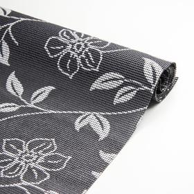 """Anti-slip Mat 45×100 cm """"Curly flowers"""", the color grey"""