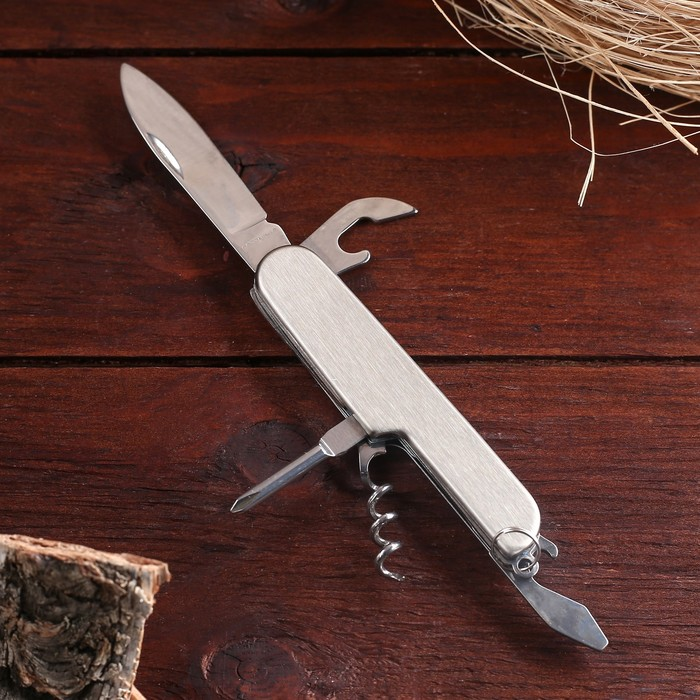 Нож швейцарский Мастер К 5в1, рукоять хром