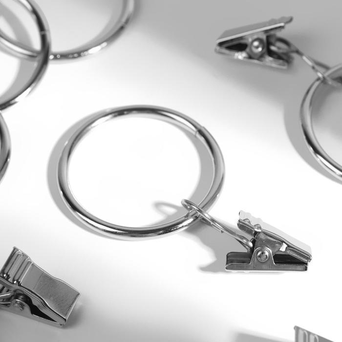 Кольцо для карниза, с зажимом, d = 32/38 мм, 20 шт, цвет серебряный