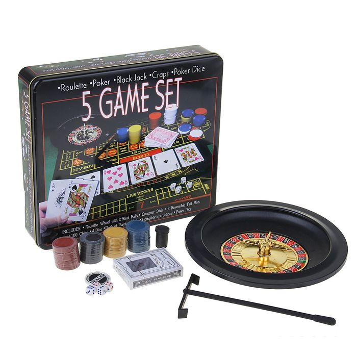 Игра 5 Game Set, набор: рулетка + 2 шарика + 4 кубика + 1 колода карт + 100 фишек + сукно 33 × 29 см, УЦЕНКА (нет лопаточки)