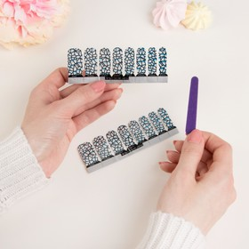 """Nail stickers """"Triangles"""", with a nail file, glitter, color blue"""