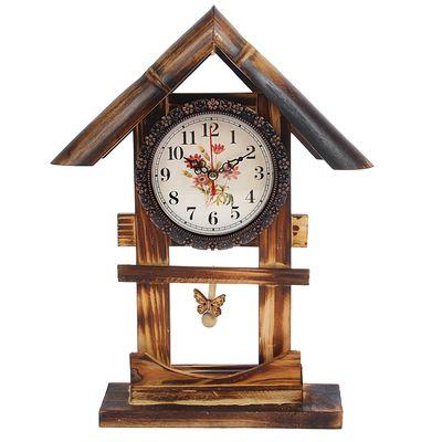 "Часы настольные ""Цветочный дом"", бамбук, 35х20 см"