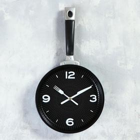 """Часы настенные, серия: Кухня, """"Сковорода"""" 20х35 см, плавный ход, микс"""