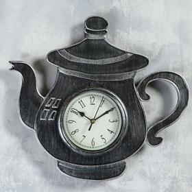 """Часы настенные, серия: Кухня, """"Чайник с ручкой"""", хром с напылением, 31х33 см, плавный ход"""