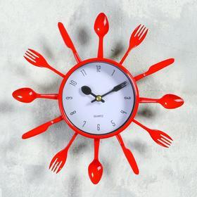 """Часы настенные, серия: Кухня, """"Вилки, ложки, поварешки"""", красные, плавный ход"""