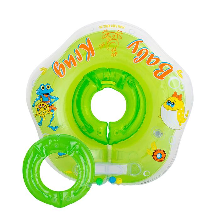 Круг для купания 3D, два сменных кольца, от 3 мес., цвет зелёный