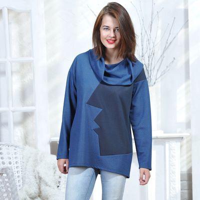 Свитшот женский 5423, размер 44, рост 164 см, цвет синий/черный