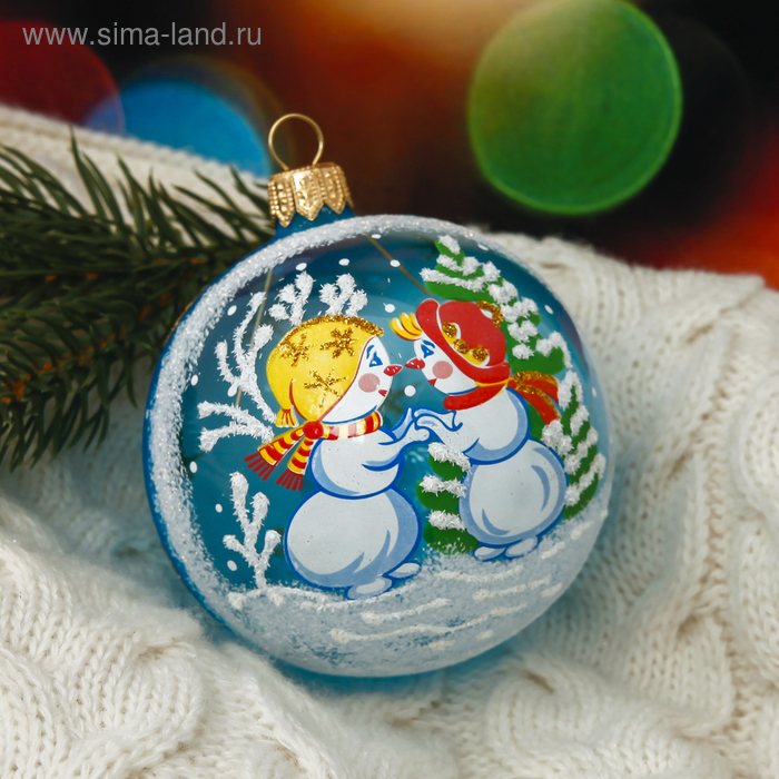 """Новогодний шар ручной работы """"Снеговички"""""""