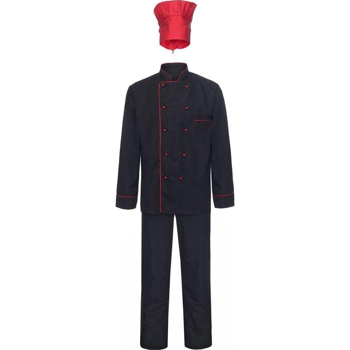 Костюм повара, модель 53, размер 50, рост 170-176 см, цвет чёрный