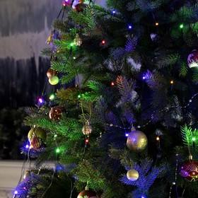 """Гирлянда """"Сетка"""" на елку с кольцом, диаметр 1,5 м, нить темная, LED-204-220V, контроллер, 8 режимов, мульти"""