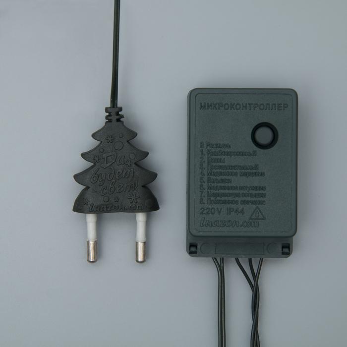 """Гирлянда """"Нить"""", 5 м, 50 ламп, 220V, 8 режимов, нить тёмная, свечение мульти"""
