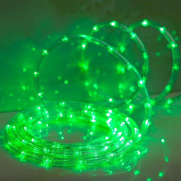 LED шнур 10 мм, круглый, 5 м, чейзинг, 2W-LED/м-24-220V, с контр. 8р, ЗЕЛЕНЫЙ