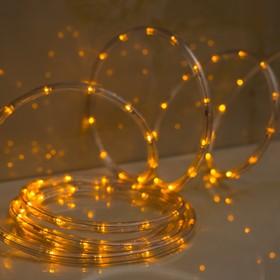 LED шнур 10 мм, круглый, 5 м, чейзинг, 2W-LED/м-24-220V, с контр. 8р, ЖЕЛТЫЙ