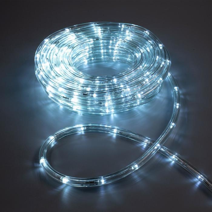 LED шнур 10 мм, круглый, 10 м, чейзинг, 2W-LED/м-24-220V, с контр. 8р, БЕЛЫЙ