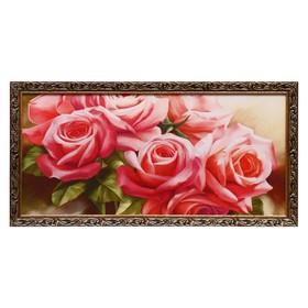 "Гобеленовая картина ""Букет роз"" 52х103 см рамка микс"