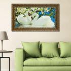 """Гобеленовая картина """"Красивые лебеди"""" двойная рама 78х136 см - фото 1673229"""