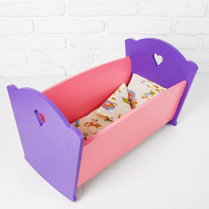 """Мебель кукольная """"Кроватка"""", розово-сиреневая"""