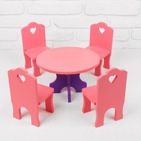 Мебель кукольная «Столик со стульчиками», 5 деталей