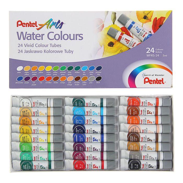 Акварель художественная набор в тубе 24 цвета по 5мл Pentel Water Colours - фото 1673374