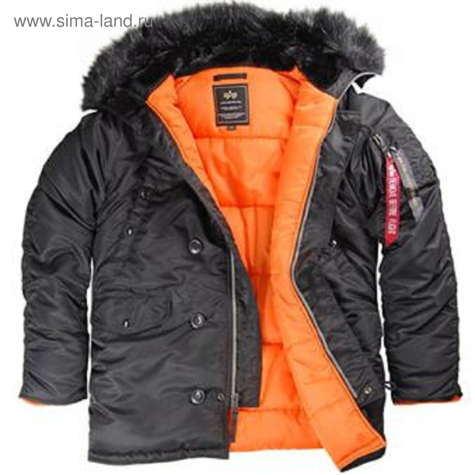 c3deeecf1db80 Куртка Slim Fit N-3B Parka black/orange w/black fur Alpha Industries ...