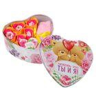 """Набор мыльных лепестков в шкатулке-сердце """"Любовь - это ты и я!"""", 5 бутонов и полотенце (20х20)"""