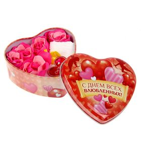 """Набор мыльных лепестков в шкатулке-сердце """"С днем всех влюбленных!"""", 5 бутонов и полотенце (20х20)"""