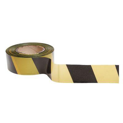 Лента оградительная, чёрно-желтая,ширина 5 см, 200 м