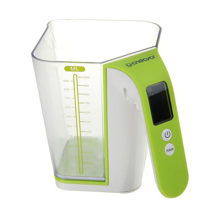 Весы электронные кухонные Endever Skyline KS-514, LCD-дисплей, до 2.0 кг, бело-зеленые