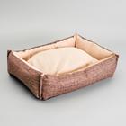 Лежанка под замшу с двусторонней подушкой,  54 х  42 х  11 см, мебельная ткань, микс цветов