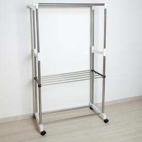 Стойка для одежды телескопическая усиленная с полкой, 2 перекладины 80×43×90(160) см