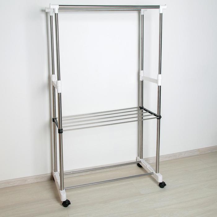 Стойка для одежды телескопическая усиленная с полкой, 2 перекладины 80х43х90(160) см