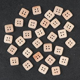 Button wooden, 4 punctures, square, 20 mm.