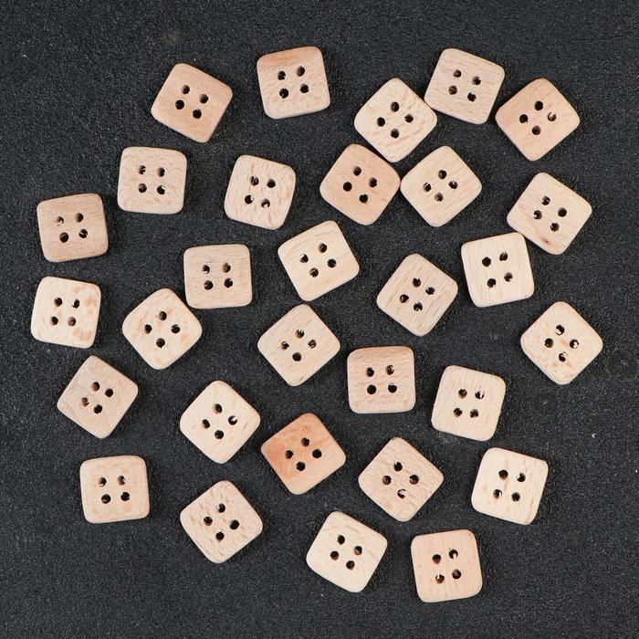 Пуговица деревянная, 4 прокола, квадратная, 20 мм