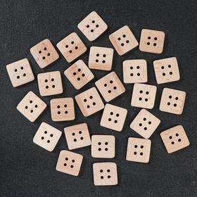 Button wooden, 4 punctures, square, 30 mm.