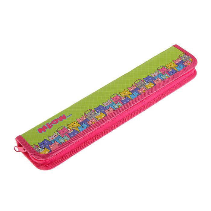 Пенал для кистей 340x70 мм, ламинированный картон, для девочки, «Цветные котики»